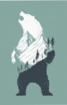 Sticker Illustration de l'ours debout
