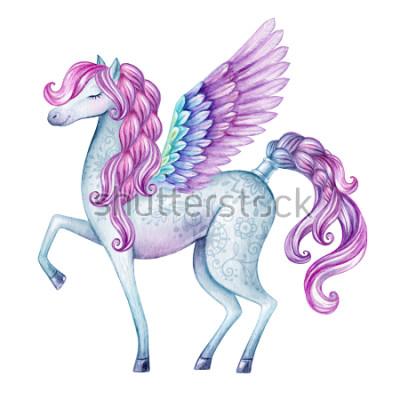 Sticker illustration de pegasus aquarelle, créature de conte de fées, étalon volant, animal magique, isolé sur fond blanc