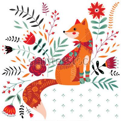 Sticker illustration de renard dessiné à la main