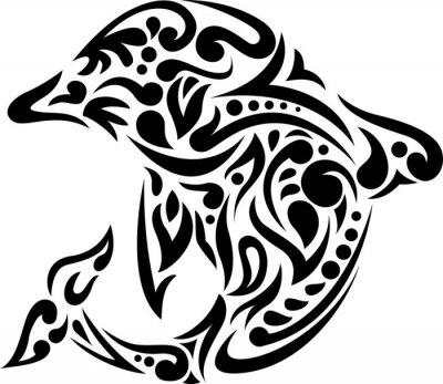 Sticker Illustration de tatouage de dauphin