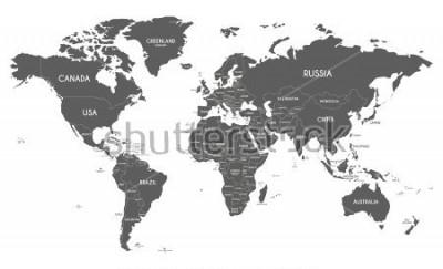 Sticker Illustration de vecteur de carte du monde politique isolé sur fond blanc.