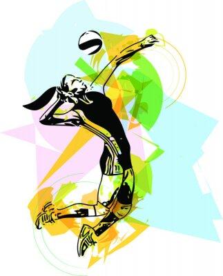 Sticker Illustration de volleyeur jeu