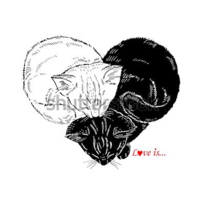 Sticker Illustration dessinée à la main des chatons noir et blancs dormant en forme de coeur, conception de Valentin, amour