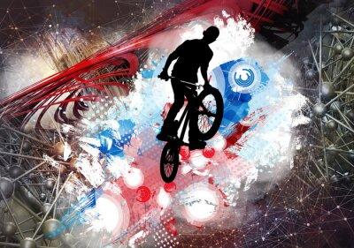 Sticker Illustration du cavalier de bicyclette