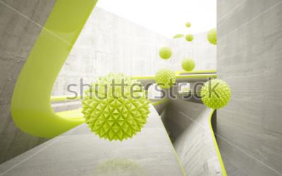 Sticker Illustration du modèle 3D boule cristalline verte sur fond d'écran 3D fond décoratif. Art moderne graphique
