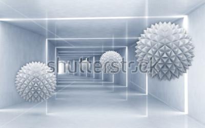 Sticker Illustration du modèle de boule cristalline 3D sur un papier peint 3D de fond argenté Art moderne graphique