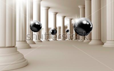 Sticker Illustration du modèle de boule noire 3D sur fond d'écran 3D de fond décoratif. Art moderne graphique