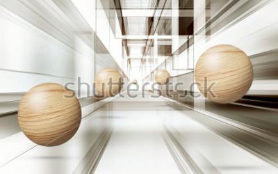 Sticker Illustration du modèle de sphère brune 3D sur fond d'écran 3D de fond décoratif. Art moderne graphique