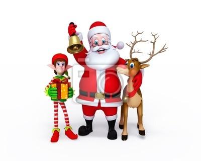 Illustration du Père Noël avec les Elfes et les rennes