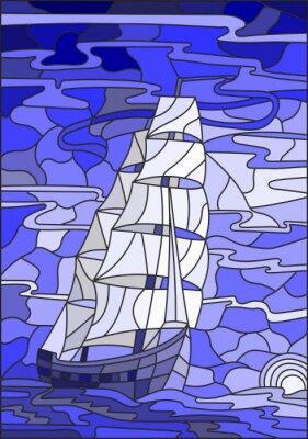 Sticker Illustration en verre souillé avec le voilier contre le ciel, la mer et le coucher du soleil. Version bleue
