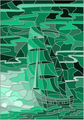 Sticker Illustration en verre teinté avec le voilier contre le ciel, la mer et le soleil couchant.Green version