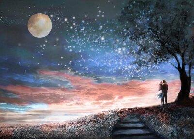 Sticker Illustration fantastique avec le ciel nocturne et MilkyWay, étoiles de la lune. Femme et homme sous un arbre regardant le paysage de l'espace. Prairie florale et escalier. La peinture.