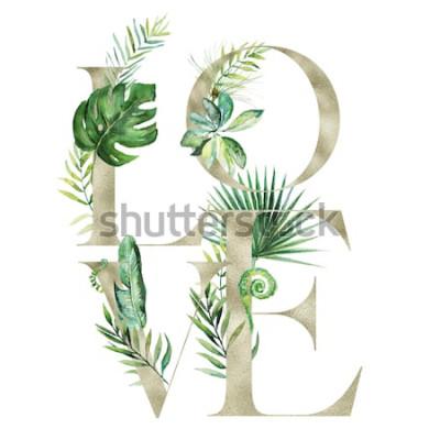 Sticker Illustration florale aquarelle exotique tropical - bannière d'arrangement LOVE avec des lettres de texture or, pour mariage stationnaire, salutations, fonds d'écran, mode, arrière-plan. Palmie
