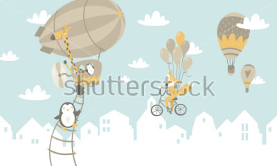 Sticker Illustration graphique d'enfants. Utilisation pour imprimer sur le mur, les oreillers, les intérieurs de décoration pour les enfants, les vêtements et les vêtements pour bébés, les cartes de vœux, les