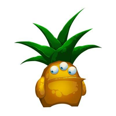 Sticker Illustration: Le monstre de Pineapple de forêt fantastique isolé sur fond blanc. Caractère de personnage de bande dessinée fantastique réaliste / conception de monstre / créature.