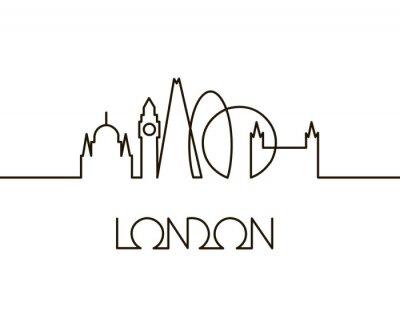 Sticker illustration linéaire abstraite de la ville de Londres sur fond blanc