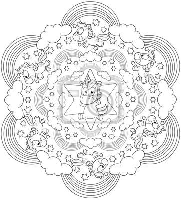 Sticker: Illustration mignon licorne mandala vecteur