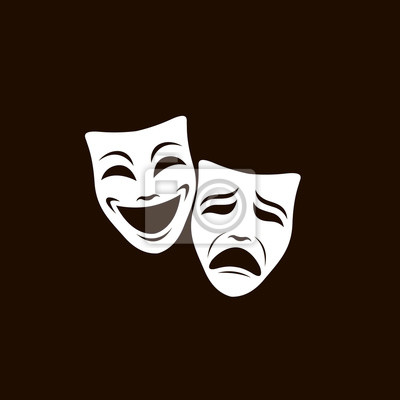 Sticker illustration of comedy and tragedy theatrical masks isolated