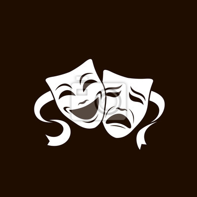 Sticker illustration of comedy and tragedy theatrical masks isolated on white background