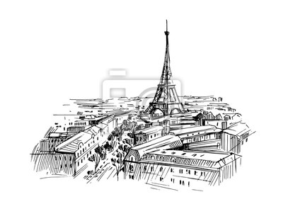 Sticker Illustration of paris with eiffel tower. Hand drawn ink sketch converted to vector.
