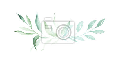 Sticker Illustration of watercolor drawing decorative elements of green plants and leaves in the form of frames on an isolated white background.