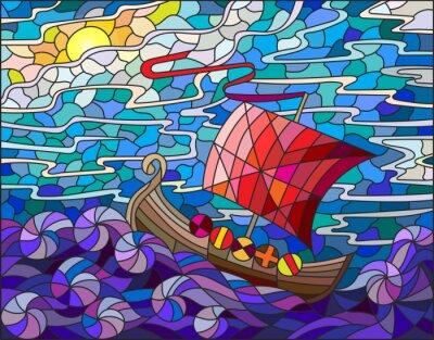 Sticker Illustration, taché, verre, style, antiquité, bateau, contre, mer, ciel, soleil