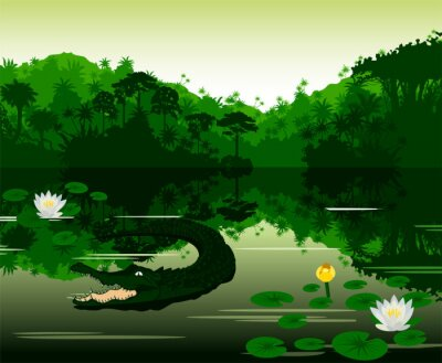 Sticker Illustration Vecteur tropicale, rivière, crocodile