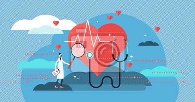 Sticker Illustration vectorielle cardiologue. Mini concept de personne avec travail de santé cardiaque