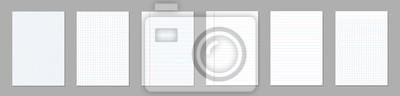 Sticker Illustration vectorielle créatif de carrés vierges réalistes, papier ligné, jeu de feuilles vierges isolé sur fond transparent. Lignes de conception artistique, cahier de pages en grille avec marge. É