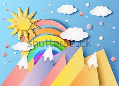 Sticker Illustration vectorielle d'un beau paysage avec le soleil, l'arc-en-ciel, les nuages et les montagnes. Dans le style du papier coupé.