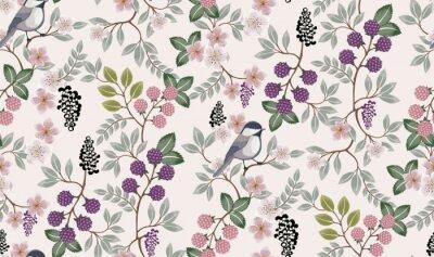 Sticker Illustration vectorielle d'un motif floral sans couture avec oiseaux mignons au printemps pour mariage, anniversaire, anniversaire et fête. Conception pour bannière, affiche, carte, invitation et albu