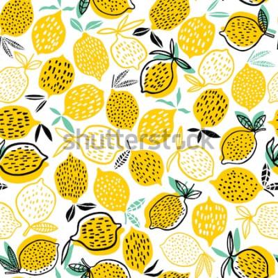 Sticker Illustration vectorielle de citron modèle sans couture. Design d'été