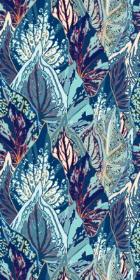 Sticker Illustration vectorielle de feuille bleue