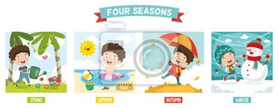 Sticker Illustration vectorielle de gamin et quatre saisons