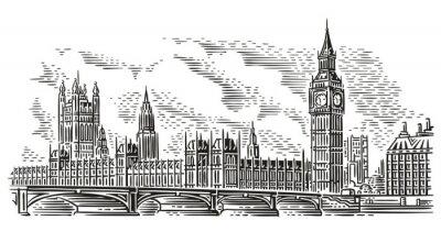 Sticker Illustration vectorielle de London Cityscape, style de gravure. Palais de Westminster, pont de Westminster, tour Elizabeth (Big Ben). Isolé. (Fond de ciel en calque séparé).