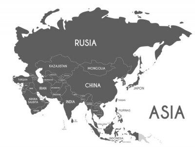 Sticker Illustration vectorielle de politique Asie carte isolé sur fond blanc avec les noms de pays en espagnol. Calques modifiables et clairement étiquetés.