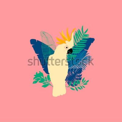 Sticker Illustration vectorielle - perroquet cacatoès, oiseaux exotiques, fleurs tropicales, feuilles de palmier, oiseau de paradis