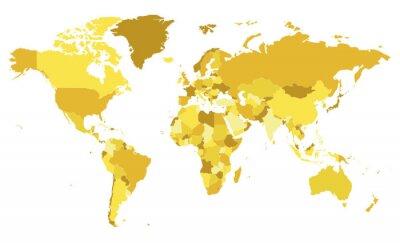 Sticker Illustration vectorielle politique blanc carte du monde avec des tons différents de jaune pour chaque pays. Calques modifiables et clairement étiquetés.
