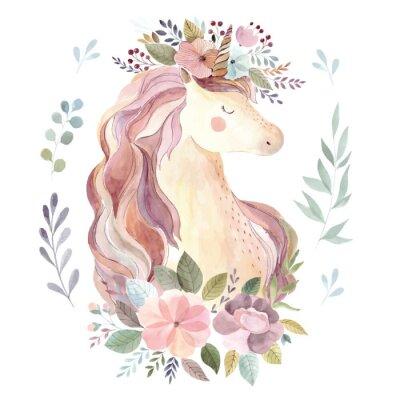Sticker Illustration vintage avec une licorne mignonne et une couronne florale