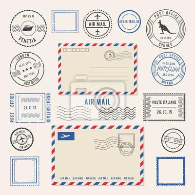 Sticker Illustrations vectorielles de lettres et de cachets postaux, dessins aériens. Timbres anciens