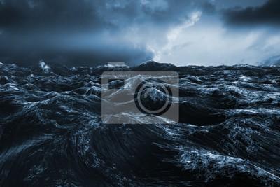 Sticker Image composite de l'océan bleu rugueux