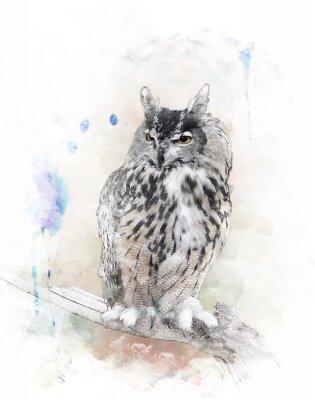 Sticker Image d'aquarelle de hibou