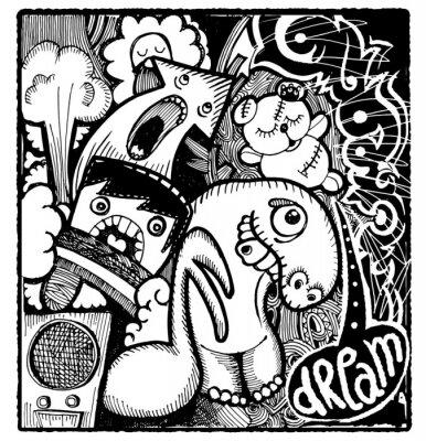 Sticker Image de style sommaire moderne de Bad Dream