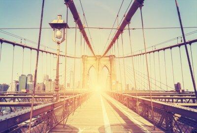 Sticker Image stylisée vintage du pont de Brooklyn, NY.