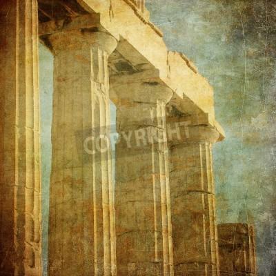 Sticker Image vintage de colonnes grecques, Acropole, à Athènes, en Grèce