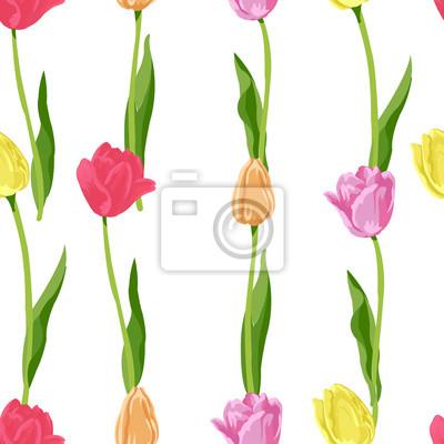 Sticker impression de fond transparente petites tulipes florales
