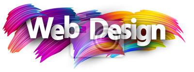 Sticker Impression sur papier Web design avec des coups de pinceau coloré.
