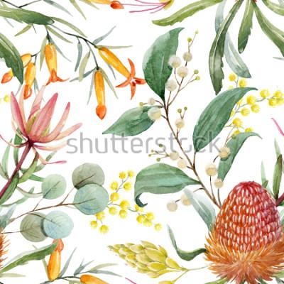 Sticker Imprimé floral tropical, fleurs de Bangsia orange, feuilles d'eucalyptus, feuilles de protée, mimosa en fleurs, papier peint tropical