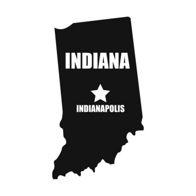 Indiana map in black on a white background