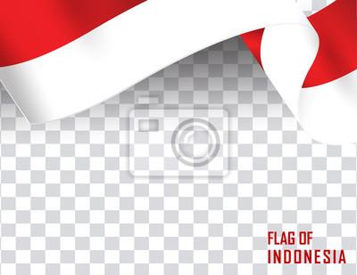 Sticker Indonesia flag ribbon shape. Indonesia Independence Day Celebration